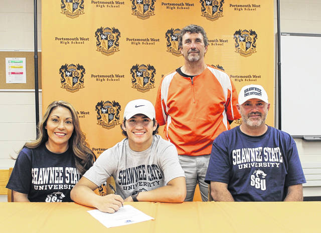 West senior Garrett Hurd (middle seated) signed his letter of intent to join the Shawnee State University baseball team beginning next season. Hurd was joined by mother Annie Thornsberry (left seated), father Jason Hurd (right seated), and West head coach Chris Rapp (standing). Hurd joins Green seniors Tanner Kimbler, Bryce Ponn, and Tayte Carver as the fourth member of the Bears 2019 signing class from Scioto County.