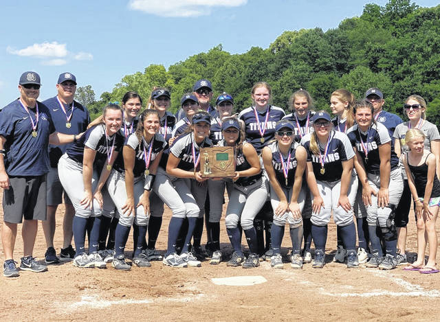 The Notre Dame Titans softball team secured a 3-1 victory over Waterford to win a district title Saturday at the University of Rio Grande.