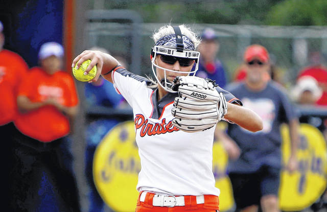 Junior Sydney Spence threw three innings of one-hit softball during Thursday's 13-3 win over Minford in a Division III district semifinal.