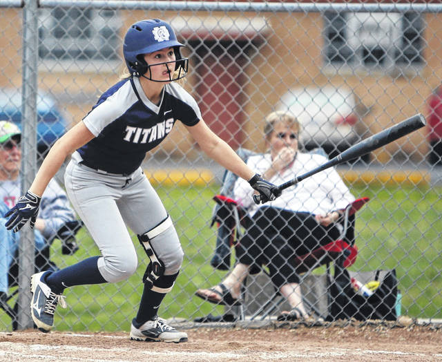 Notre Dame sophomore Ava Hassell advances to first base following a hit during a Titans game earlier this season.