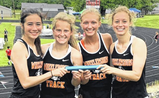 Wheelersburg's Libby Miller, Lani Irwin, Alyssa Dingus, and Lauren Jolly broke a 37 year old record at the Southern Ohio Conferenc Meet last week in the 4x200 relay race.