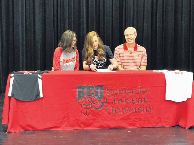 Clay senior Delanie Gilliland signed her letter of intent to join Kentucky Christian University's volleyball team this fall.