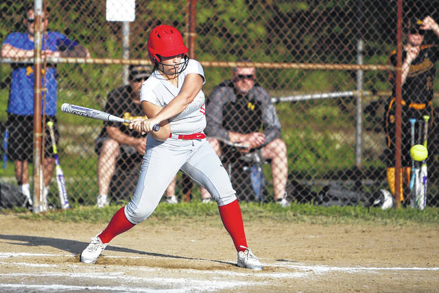 New Boston's Lexus Oiler swings at a pitch during Monday's 10-3 loss to Paint Valley in a Division IV sectional semifinal.