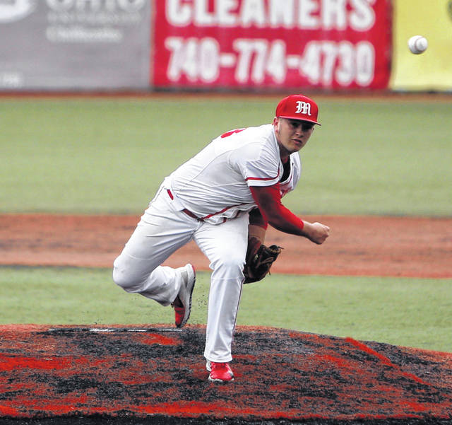 Minford's Ethan Lauder delivers a pitch during the Falcons' 7-2 win over Westfall, Thursday at VA Memorial Stadium.