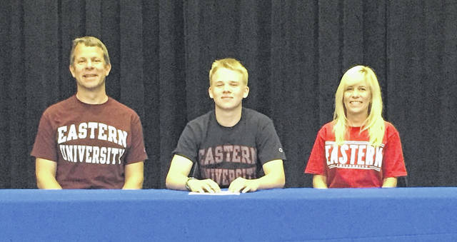 Clay's Garret Beegan recently signed his National Letter of Intent to play basketball at Eastern (Pa.) University.