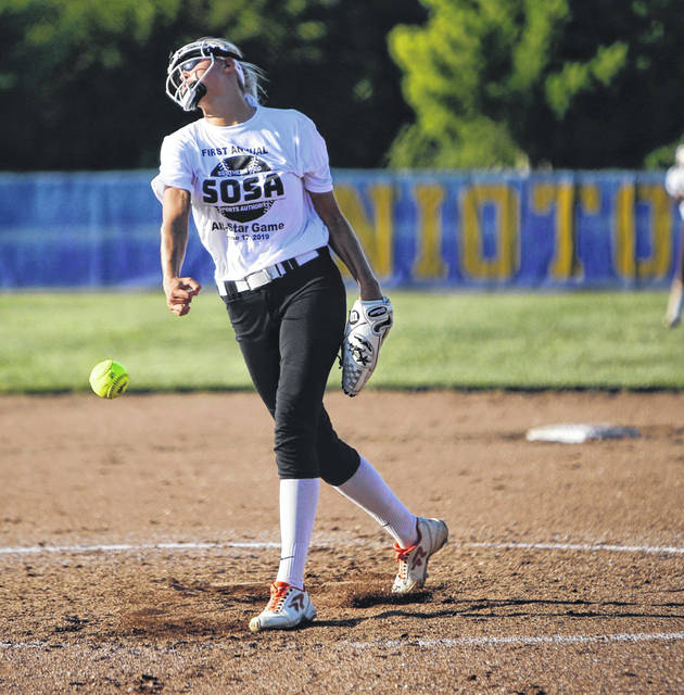 Wheelersburg's Sydney Spence throws a pitch during Tuesday's Southern Ohio Sports Authority Softball All-Star Game at Unioto High School. Spence threw seven shutout innings in a 4-0 win.