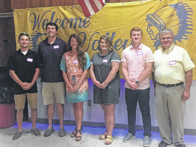 "Pictured (L to R):	Charles ""Bud"" Stambaugh scholarship recipient Jared Morrow, Valley Alumni Scholarship Fund Recipients Nick Crabtree, Challee Hettinger, Grace Brown, Andrew Shope, and David Adkins, Chair of the Scholarship Committee."