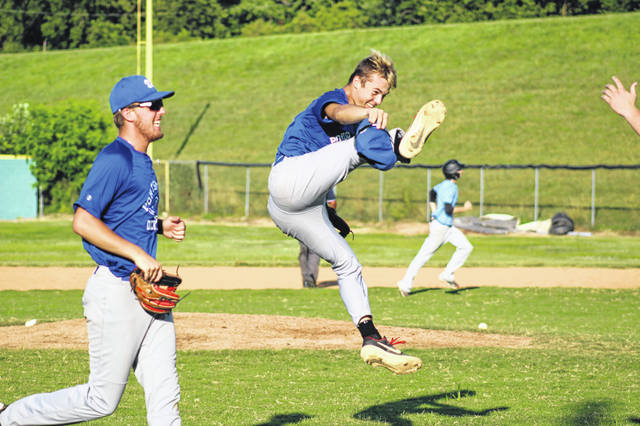 Portsmouth Post 23 second baseman Bailey Rowe jumps for joy after the Dickeys turned a 4-6-3 double play in their win over Circleville Post 134 Wednesday in Portsmouth.