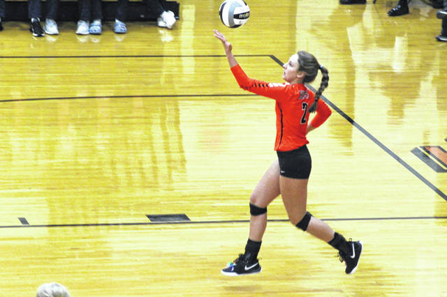 Wheelersburg junior Kaylee Darnell attempts a serve during the Pirates run a season ago through the district tournament, clinching a spot for 'Burg in the regional semifinals in Logan.