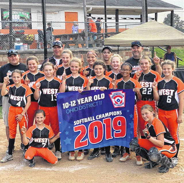 West's 11-12 Little League Softball team clinched a district title Tuesday night over Wheelersburg 8-4 to advance to this weekend's State Little League Softball Tournament.