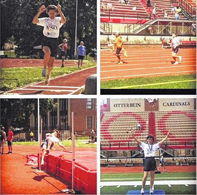 Nadine Carver at the state competition, competing in the long jump, high jump, running and with her medals.