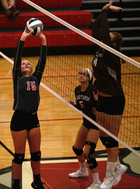 Minford junior Livi Shonkwiler performs a set during the Falcons clean sweep victory of Eastern Tuesday.