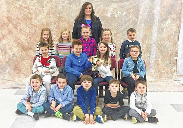 Allison Dunn's (top center) 2018-2019 First Grade Class-Attendance Winners.