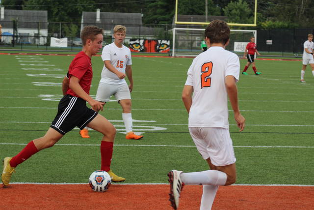 South Webster's Brayden Martin approaches goal in the Jeeps opening SOC win of the season.