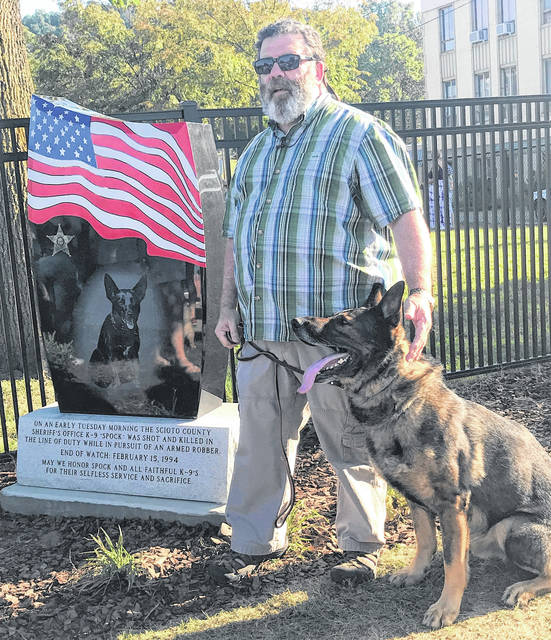 Former Deputy Alan Lewis said Spock probably saved his life even as gave his own. Lewis visited Portsmouth's new dog park with Maddox.