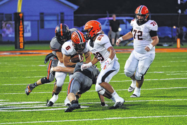 Wheelersburg seniors Evan Horsley (6) and Makya Matthews (29) will be focal points in the Wheelersburg's offense in 2019 as the Pirates push for yet another playoff appearance.