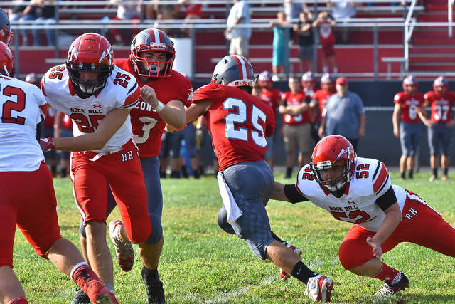 Minford running back Ty Wiget returned the opening kickoff for an 81 yard touchdown run during the Falcons season opener against Rock Hill Saturday.