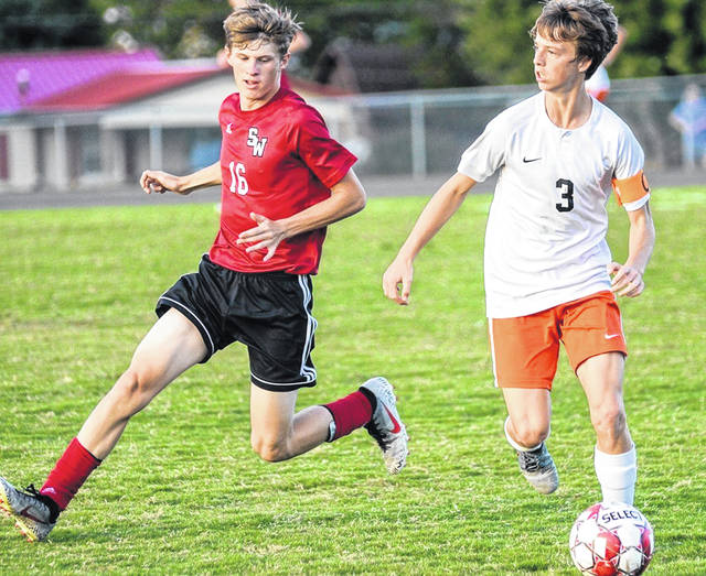 Wheelersburg junior Aaron Jolly (3) scored both of the Pirates two goals in their road win over South Webster Tuesday.