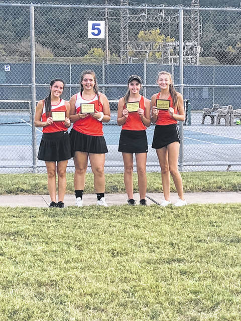 (L-R) Waverly's Hope Wilburn and Kayla Barker and Wheelersburg's Maddie Gill and Kaitlyn Sommer were named to the SOC first team for doubles for the 2019 girls tennis tournament.