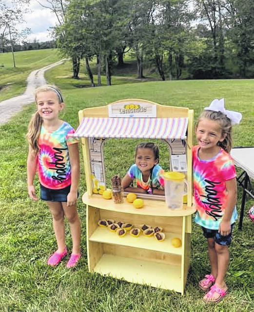 The friends and neighbors' lemonade stand hosted by:(l to r) Addi Lloyd, Adalynn Brown & Layni Conkel.