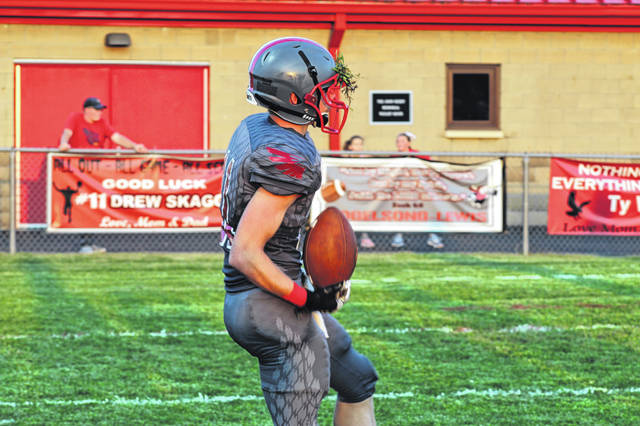 Minford's Drew Skaggs after recovering a fumble inside the Wilmington 10 yard line to set up a Caleb Yuhas field goal.