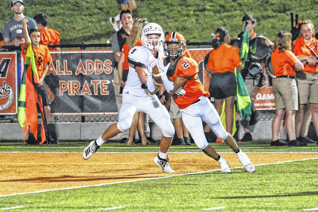 Wheelersburg senior LJ Payton caught a touchdown in the early stages of the Pirates win Friday over Ashland at Ed Miller Stadium.