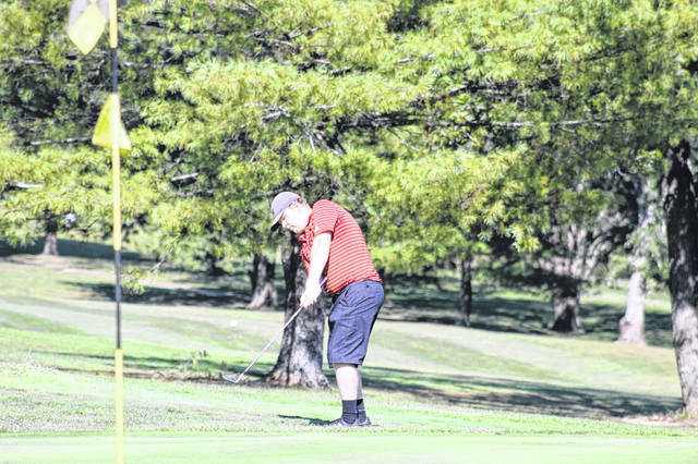South Webster senior Nick Smith chips to the sixth green during Wednesday's Division III boys golf sectional tournament at Franklin Valley Golf Club.