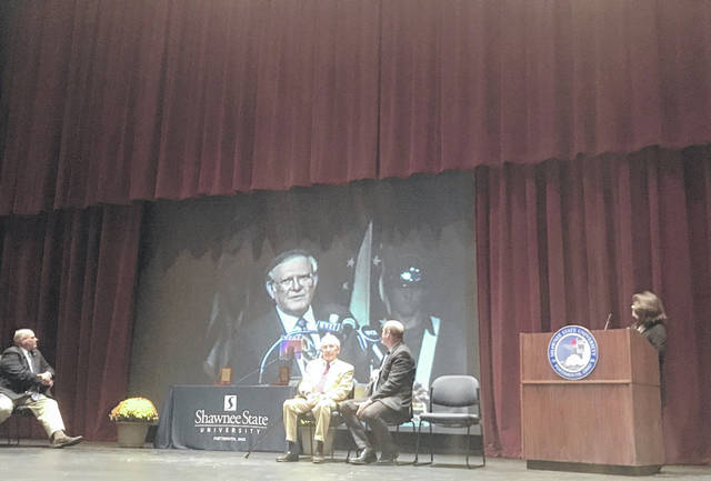 The Founder's Day ceremony included a video of Vernal G. Riffe Jr.