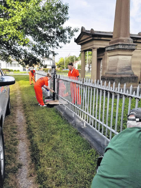 Four individuals from the work release program assisted in the cemetery on Thursday.