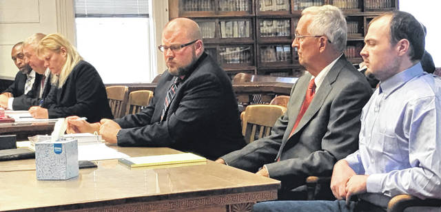 With his defense team seated to his right, murder suspect George Wagner IV faces Judge Randy Deering. the prosecution team of Angela Canepa and Pike County Prosecutor Rob Junk are at the next table, along with an agent of Ohio BCI&I.