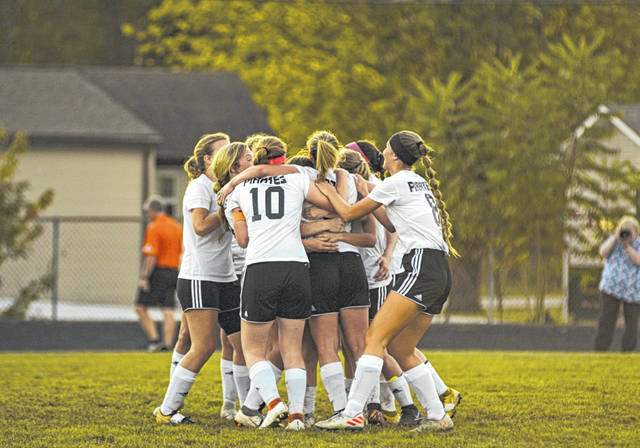 Wheelersburg's girls soccer team clinched a share of their fifth straight SOC title with their 4-1 road win over Minford, Thursday.