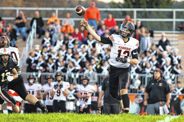 Waverly junior quarterback Haydn Shanks threw for three touchdown passes during the Tigers home game vs. Valley, Friday.