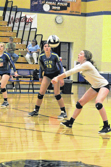 Clay senior Jaelyn Warnock (13) was named the 2019 SOC I player of the year, the conference announced Wednesday. Warnock currently leads all Division IV players in the state of Ohio in kills with 411 kills.