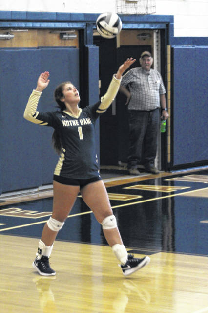Notre Dame senior Cassie Schaefer recorded her 2,000th career assist while her Titan team clinched an outright SOC I volleyball conference title with Tuesday's 3-0 sweep of New Boston.