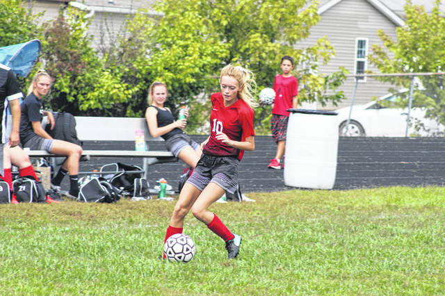 Minford senior Cameron Spencer scored the Falcons final goal of the season during their 3-2 win over Ironton St. Joe.