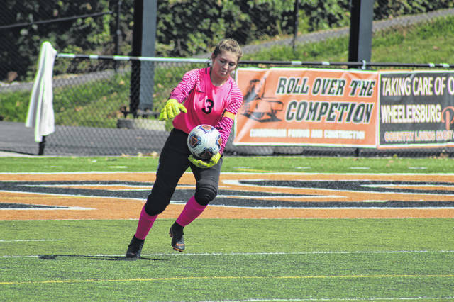 Wheelersburg senior goalie Morgan Bivens was named SOC defensive player of the year for her play in the goal for the Pirates this season.
