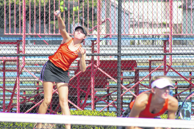 Wheelersburg's doubles team of Maddie Gill (back) and Kaitlyn Sommer (front) advance to next week's Division II girls tennis district tournament.