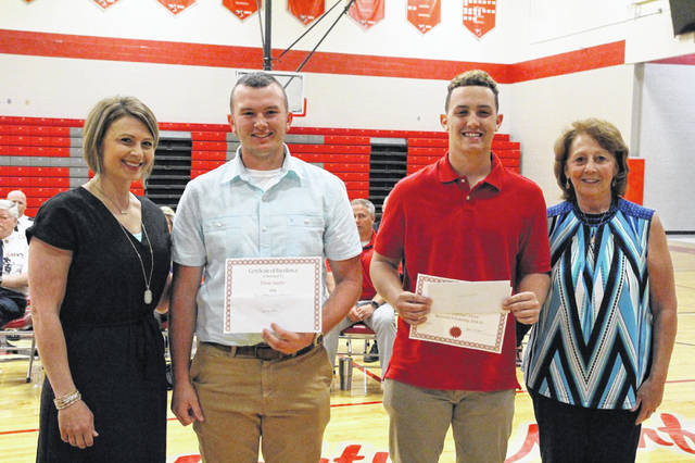 2019 Jared Hammer Dever Memorial Scholarship Winners(left to right), Megan McKenzie (sister of Jared), Ethan Lauder, Luke Lindamood, Anita McGinnis (mother of Jared).
