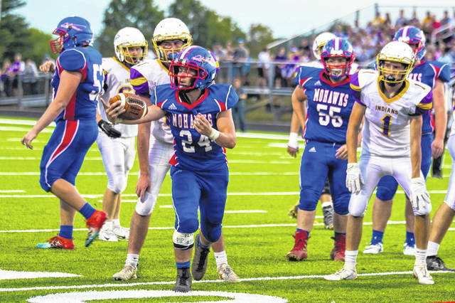 Northwest's Nathan Rivers with a carry in the Mohawks week five home game against county rival Valley at Roy Rogers Field in McDermott.