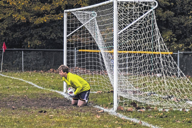 Valley goalie Wesley Holbrook held Clay scoreless, Wednesday, including this crucial penalty kick save in the second half during their sectional final win over the Panthers.