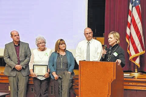 L to R: Brad Bapst, ELSD board member; Micki Atkins, ELS board member; Sonja Hill-Powell, CHA's Senior School and Summer Nutrition Manager; Lance Allen, Assistant Superintendent; Judy Mobley, President and CEO of CHA