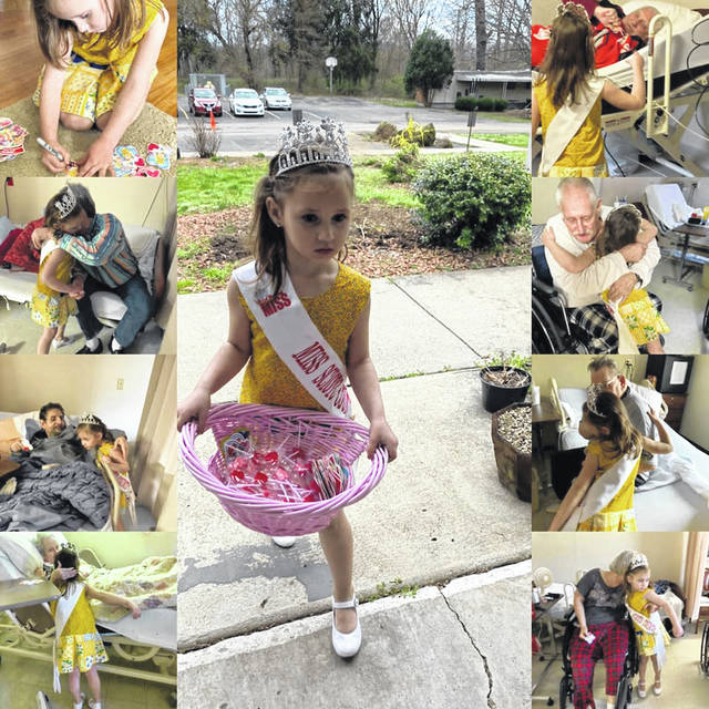 Lilly when she went to visit local nursing homes as princess and all the hugs she shared with the people she visited.