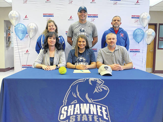 Northwest senior Addisyn Newman (center seated) signed her letter of intent to join the Shawnee State University softball program beginning in the spring of '21.