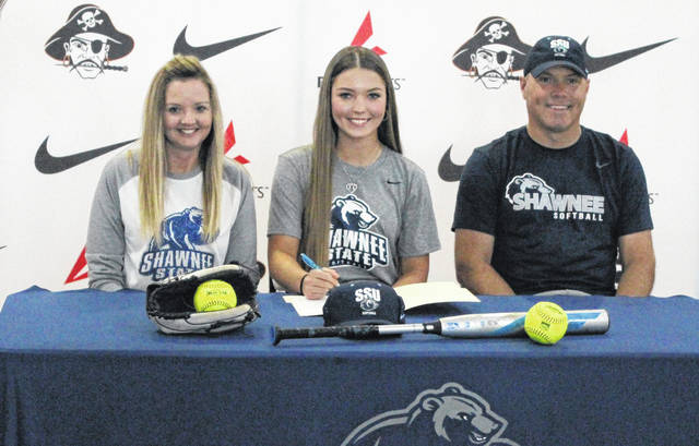 Wheelersburg senior Brittani Wolfenbarker signed her LOI Thursday evening to join the Shawnee State University softball team beginning in the spring of 2021.