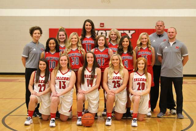 The 2019-20 Minford Falcons girls basketball team.