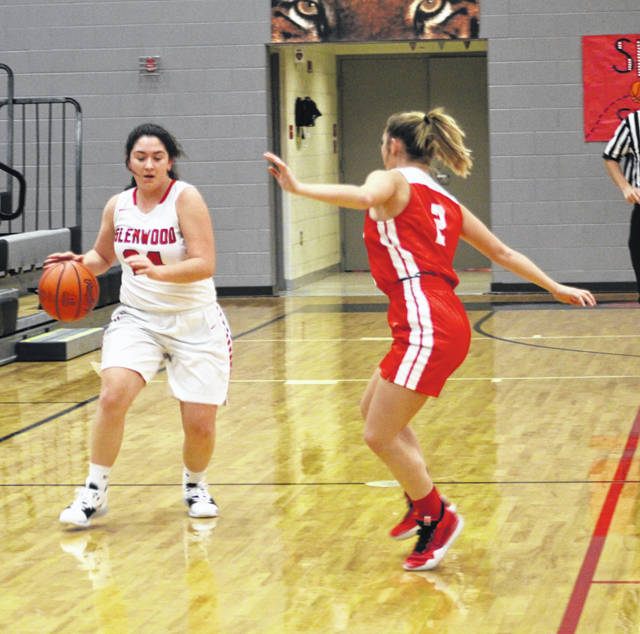 New Boston's Sammy Oiler (24) looks to drive against Rock Hill's Makayla Scott (2) during Tuesday night's non-league girls basketball game at New Boston High School.