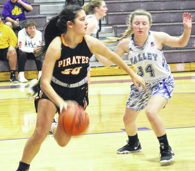 Wheelersburg's Alaina Keeney (20) contributed seven points in the Lady Pirates' 60-44 Southern Ohio Conference Division II girls basketball victory over Portsmouth West on Thursday night.