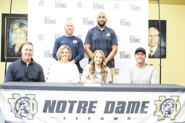 Notre Dame senior Hanna Fraley signed her letter of intent Tuesday afternoon to join SSU's new women's swim program, becoming the first local student to do so.