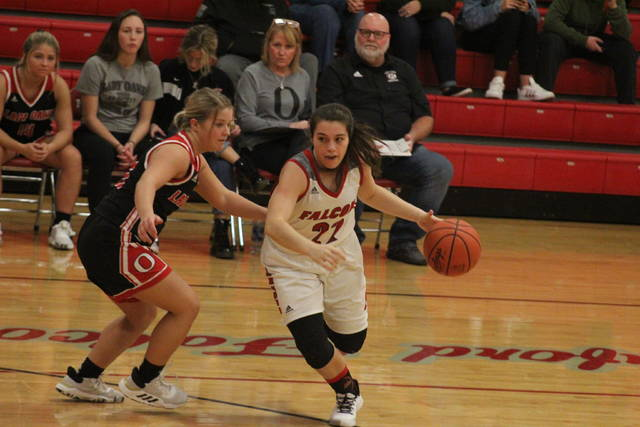 Minford senior Maddie Slusher (22) scored a season-high 19 points in the Falcons home win over Valley on Thursday.