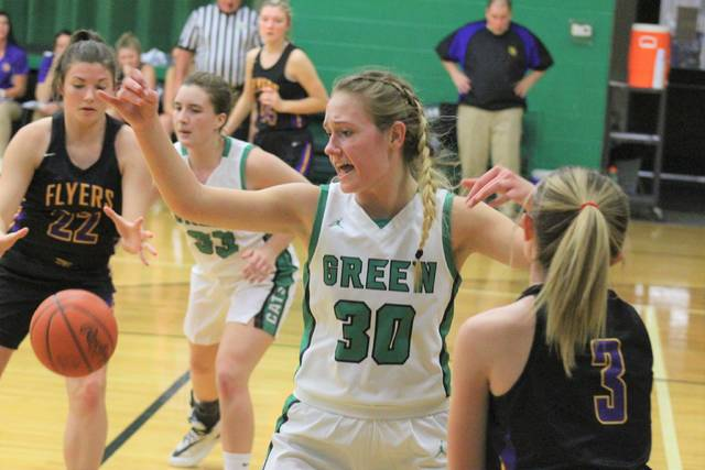Green's Kimberly Brown guards the inbound pass during the Lady Bobcats' 55-38 win over Ironton St. Joe.